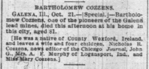 12 Bartholomew Cozzens Death Notice