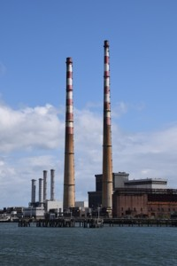 The chimneys of the Poolbeg power generating station.