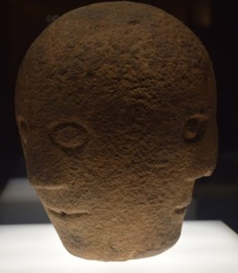 Three-faced carved stone head from the first or second century CE found in Co. Cavan, National Museum of Ireland