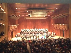 A very blurry phone photo of the New York Philharmonic's performance of Handel's Messiah, December 2013