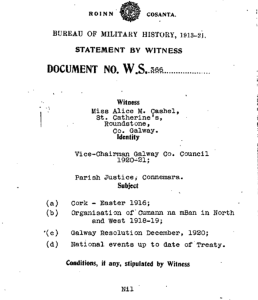 Alice Cashel's witness statement in the Bureau of military history archives