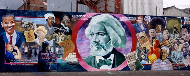 Mural depicting Douglass and other human rights leaders including Daniel O'Connell (top center, immediately to the right of Douglass) Belfast, Northern Ireland