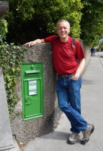 Ron and a V R postbox in Dalkey
