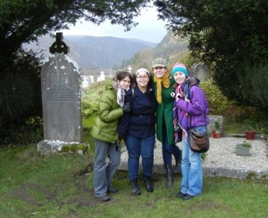 "Agnes Scott students at Glendalough, ""Glen of  Two Lakes"" founded by St.Kevin in the sixth century CE"