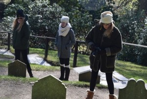 Willow, Camille, and MIchele Cozzens revisiting the Powerscourt pet cemetery in 2015