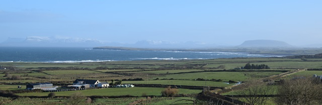 The magical Sligo landscape from a snow-dusted Ben Bulben on the left to Knocknarea on the right