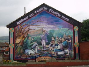 A mural in Belfast depicting the hedge school as an integral part of Gaelic Irish life