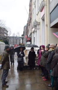Author Frank Cullen and dedicated walking tour participants on Dawson Street